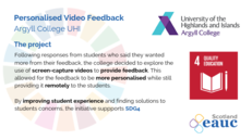 Personalised Video Feedback - Argyll College UHI image #2