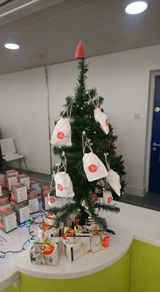 Menstrual Cup Christmas Tree at West Lothian College